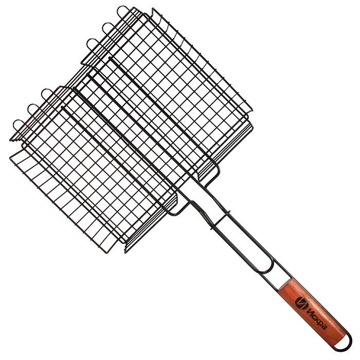 Решетка-гриль Искра глубокая, с антипригарным покрытием, 26 x 31 смRDG-46АРешетка Искра предназначена для приготовления пищи на углях, в том числе мяса. Изготовлена из высококачественной стали с пищевым никелированным покрытием. Идеально подходит для мангалов и барбекю.Решетка имеет широкое фиксирующее кольцо на ручке, что обеспечивает надежную фиксацию. Деревянная ручка предохраняет руки от ожогов, а также удобна для обхвата двумя руками, что позволяет легко переворачивать решетку. Характеристики:Материал:сталь, дерево. Размер решетки:26 см x 31 см. Высота решетки:4,5 см. Длина ручки: 32,5 см. Артикул:RDG-46А. Производитель:Россия. Изготовитель: Китай.