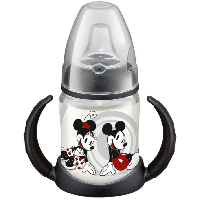 Бутылочка-поильник NUK Дисней Микки, с силиконовым носиком, цвет: черный, 150 мл, от 6 месяцев