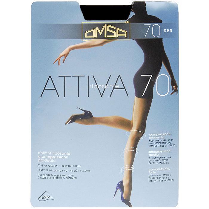 Колготки классические Omsa Attiva 70. Nero (черные). Размер 6 колготки omsa attiva размер 2 плотность 40 den nero