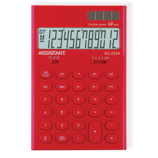 Калькулятор Assistant AC-2329, 12-разрядный, цвет: красныйAC-2329RedСтильный настольный калькулятор в ярком цветном корпусе с круглыми чувствительными кнопками оснащен большим 12-разрядным матричным дисплеем. Позволяет вычислять проценты, подсчитывать итоговую сумму вычислений. Калькулятор имеет двойную систему питания: от солнечного элемента и от батареи, - что гарантирует ему бесперебойную работу на несколько лет. Память,12-ти разрядный дисплей,Вычисление процентов,Вычисление квадратного корня, Цветной пластиковый корпус,Двойное питание, Пластиковые кнопки, Итоговая сумма,Удаление последнего введенного символа.Характеристики: Размер калькулятора: 16,5 x 10,8 x 2,6 см. Размер дисплея: 9,1 см х 2,6 см. Цвет: красный. Изготовитель: Китай.