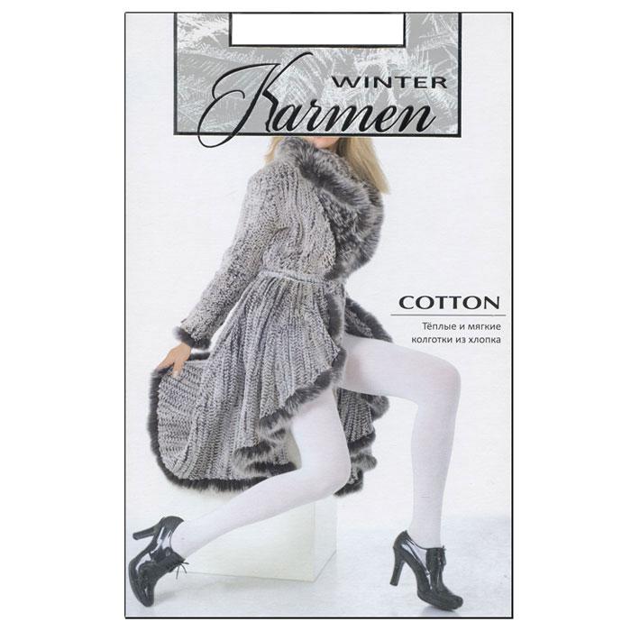 Колготки теплые Karmen Winter Cotton, цвет: белый (Bianco). Размер 4K-Cotton BiancoТеплые и мягкие колготки из хлопка с плоскими швами. Идеально облегают фигуру и обеспечивают надежную защиту от холода.