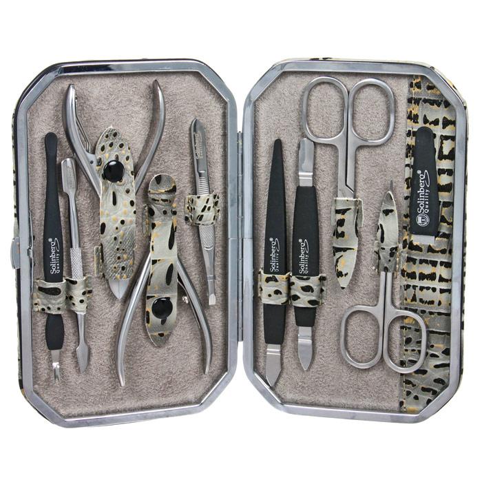 Маникюрный набор Solinberg, 10 предметов. 141-30701141-30701Маникюрный набор Solinberg, выполненный из высокопрочной стали и пластика, состоит из 10 предметов для ухода за ногтями: пилочки, 2-х ножниц, инструмента для удаления кутикул, 3-и инструмента для обработки кутикул, пинцета, маникюрных кусачек и педикюрных кусачек. Инструменты хранятся в оригинальном футляре.Набор Solinberg станет незаменимым атрибутом при уходе за ногтями рук и ног в домашних условиях и отлично подойдет в качестве подарка. Характеристики: Материал предметов: сталь, пластик. Длина ножниц: 9 см. Длина пилочки: 12 см. Длина кусачек: 9,3 см. Материал футляра: металл, экокожа. Размер футляра: 17 см х 10,5 см х 2,3 см. Размер упаковки: 17,3 см х 11,3 см х 2,7 см. Производитель: Германия. Артикул:141-30701. Товар сертифицирован.УВАЖАЕМЫЕ КЛИЕНТЫ!Обращаем ваше внимание на ассортимент в цветовом дизайне товара. Поставка осуществляется в зависимостиот наличия на складе.