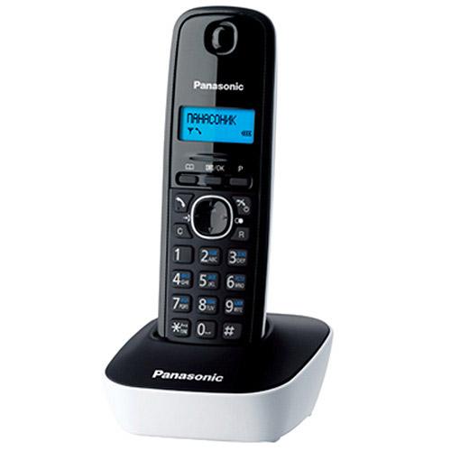 Panasonic KX-TG1611 RUW, WhiteKX-TG1611RUWDECT-телефон Panasonic KX-TG1611 RUF предложит владельцу массу полезных функций, 12 мелодий звонка, стильный дизайн и подарит радость общения. Аппарат оснащен 1-строчным монохромным дисплеем с подсветкой. Это делает его использование в темноте или плохо освещенном помещении чрезвычайно удобным. Телефонная книга и журнал входящих вызовов способны сохранить до 50 номеров. Автоматический определитель номера поможет избежать нежелательных бесед, часы и будильник - не опоздать на работу или встречи. Поддержка стандартов DECT/GAP позволяет использовать любые совместимые телефоны и базы (не все функции могут быть доступны). Аппарат снабжен русскоязычным меню.