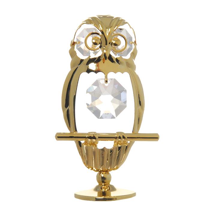 Миниатюра Пятнистая сова, цвет: золотистый, 8 см статуэтка crystocraft миниатюра u0314 001 cbl