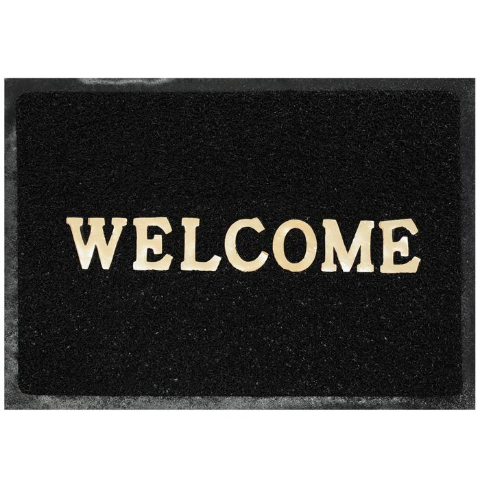 Коврик придверный Vortex Welcome, цвет: черный, 40 х 60 см коврик придверный vortex листья 76 46 см