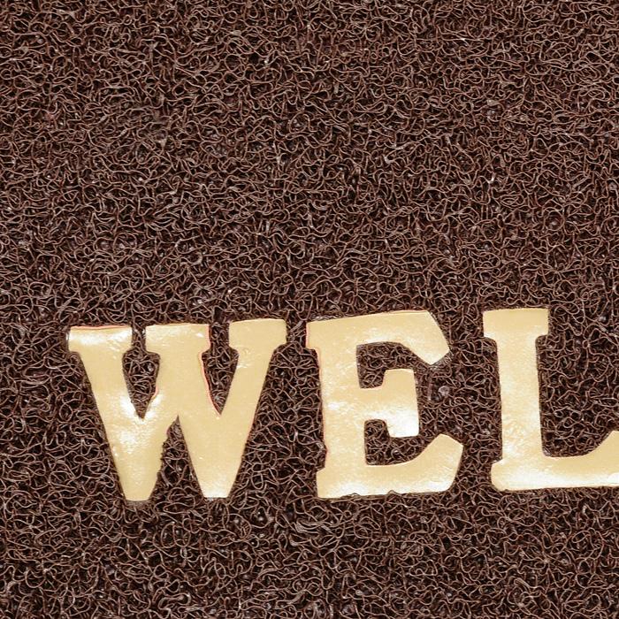 Коврик придверный Vortex Welcome, цвет: коричневый, 40 х 60 см22182Придверный коврик выполнен из синтетического материала. Прорезиненная основа коврика предотвращает его скольжение по гладкой поверхности и обеспечивает надежную фиксацию. Такой коврик надежно защитит помещение от уличной пыли и грязи.Характеристики: Материал:полимерные материалы.Размеры:60 см х 40 см х 0,9 см.Производитель:Россия.Изготовитель:Китай. Артикул:22182.