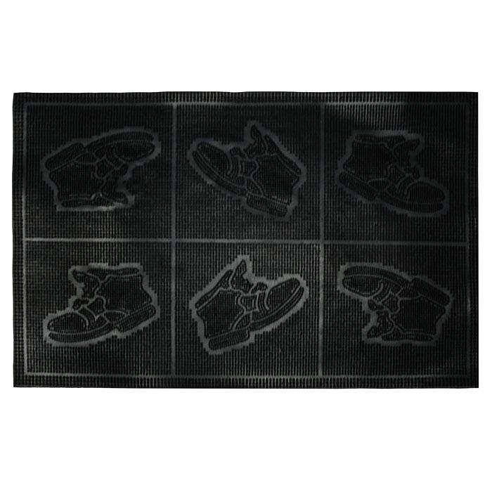 Коврик придверный Vortex Ботинки, цвет: черный, 45 х 75 см20087Придверный коврик Vortex надежно защитит помещение от уличной пыли и грязи благодаря шипам. Изготовлен из прочной и долговечной резины.Характеристики: Материал:резина.Размеры:45 см х 75 см х 0,9 см.Производитель:Россия.Изготовитель:Индия. Артикул:20087.