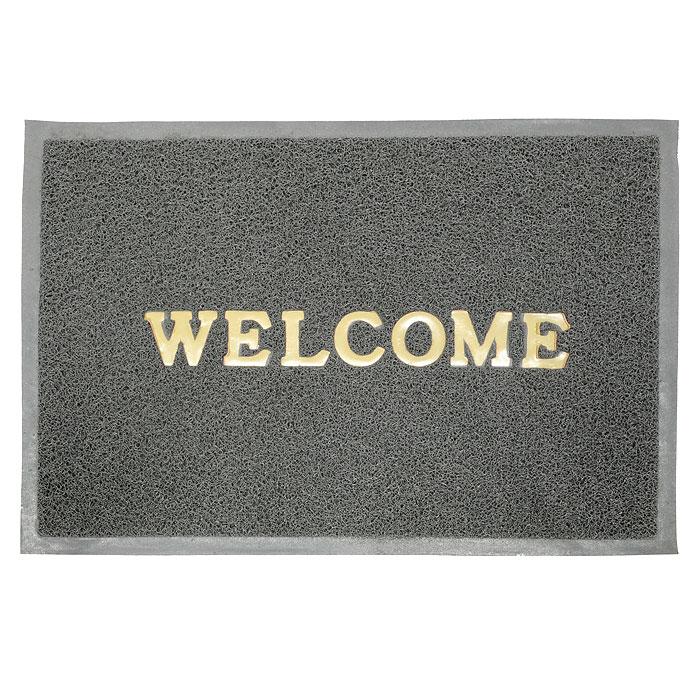 Коврик придверный Vortex Welcome, цвет: серый, 50 х 70 см коврик придверный 35х60 см черный свинка vortex 20028