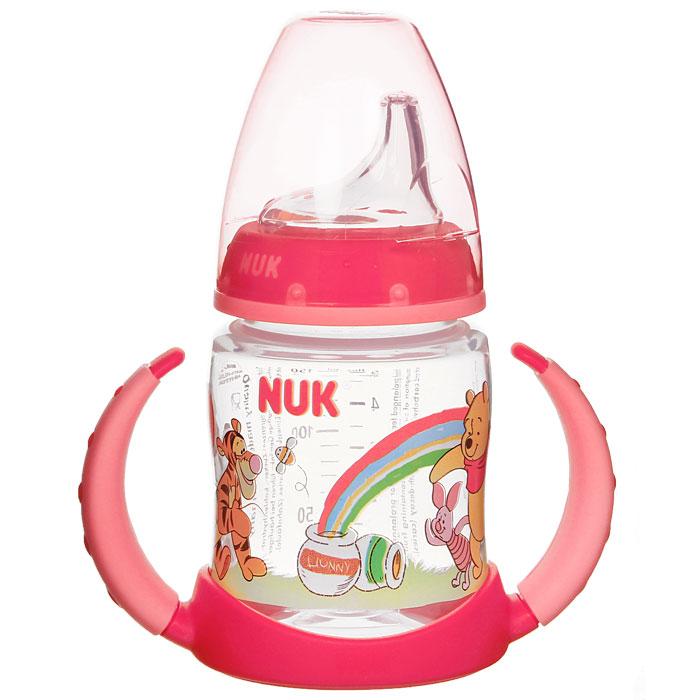 Бутылочка обучающая для питья NUK Дисней. First Choice, с силиконовой насадкой, цвет: красный, 150 мл, от 6 до 18 месяцев nuk first choice пластик 150 мл с силиконовой насадкой