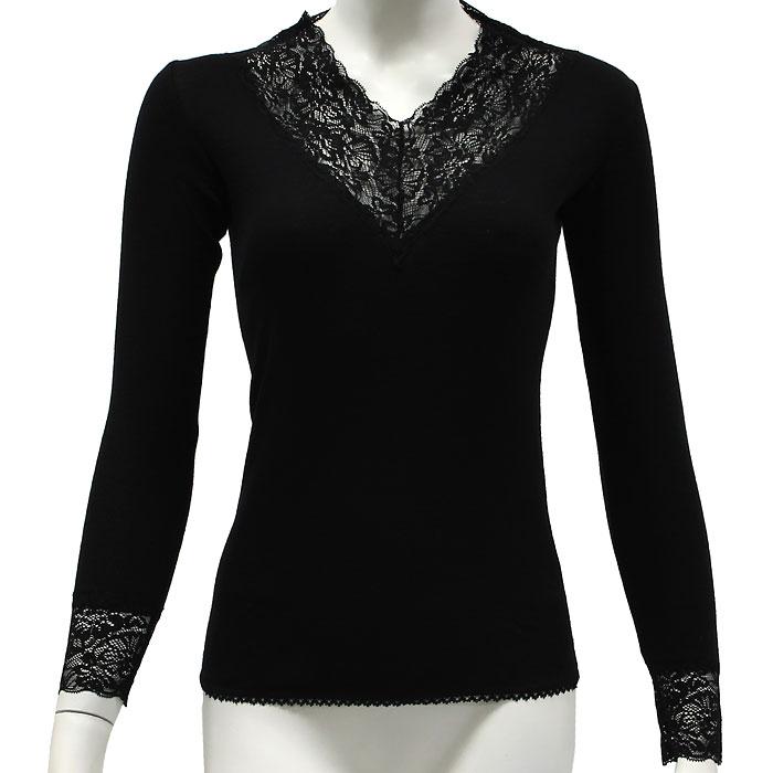 Термобелье футболка с длинным рукавом женская Cratex Люкс, цвет: черный. 3615. Размер L (48-50)3615Тонкая женская кофточка с кружевной отделкой Cratex Люкс изготовлена из высококачественной шерсти (70%) тонкорунных австралийских овец с добавлением шелка (30%). Тонкая, прочная, необычайно комфортная кофточка Cratexпрекрасно регулирует тепло- и влагообмен, незаменима в холодное и сырое время года для повседневной носки под верхней одеждой, также во время занятий зимними видами спорта. Шелковистая основа, прилегающая к коже тела, обеспечивает комфорт и удобство при носке, предотвращает сухость кожи. Благодаря использованию новейшей технологии кругового плетения, шерстяное термобелье Cratex не имеет боковых швов, абсолютно незаметно под любой, самой тонкой одеждой и обеспечивает надежную защиту от холода и ветра.