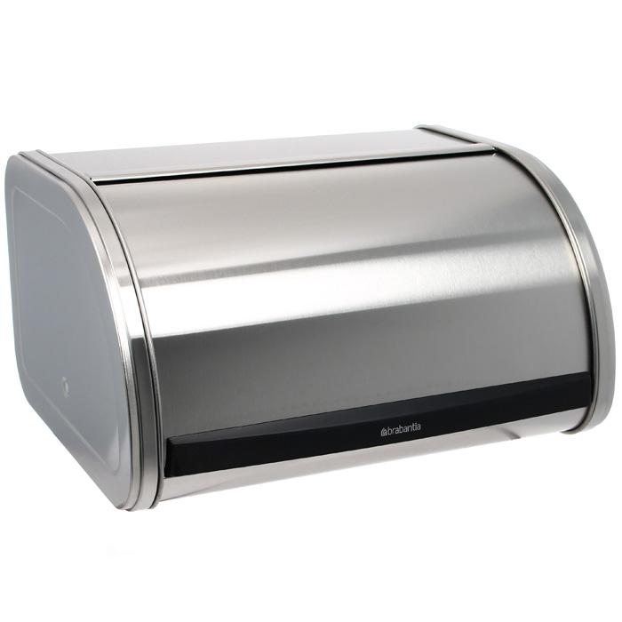 Хлебница Brabantia, цвет: стальной матовый. 348907348907Компактная хлебница – идеальное решение для небольшой кухни. Прочная и долговечная хлебница. Плоская верхняя поверхность обеспечивает дополнительное место для хранения. Компактная хлебница со сдвигающейся крышкой – не требуется дополнительное пространство при открывании. Изготовлена из коррозионностойкой высококачественной нержавеющей стали. Рифленая внутренняя поверхность дна улучшает циркуляцию воздуха внутри хлебницы. Пластиковый ограничитель с внутренней стороны обеспечивает бесшумное закрывание.