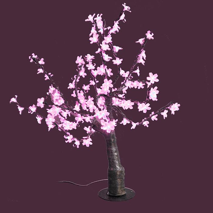 Светодиодное дерево Сакура, цвет: розовыйLED-T-PСакура - это не просто дерево. Это дерево - символ удачи, любви, красоты и юности.Светодиодное дерево Сакура представляет собой имитацию цветущей японской сакуры. Оно используется для декоративного освещения интерьеров и ландшафтов. Такое дерево с нежно-розовыми огоньками может стать прекрасным украшением для вашего дома, офиса, торгового зала, кафе ресторана или загородного участка. Оно создаст уют, придаст оригинальный стиль и необходимый вам колорит независимо от времени года. Конструкция имеет лекгосплавной каркас в оболочке из темного пластика. На ветках дерева расположены яркие светодиодные гирлянды с силиконовыми насадками (цветками). Светодиодное дерево выглядит очень натурально.Питание осуществляется через сетевой трансформатор, поэтому изделие является низковольтным и может использоваться в уличных условиях. Характеристики: Материал:пластик, силикон, металл. Высота:80 см. Диаметр основания:19 см. Количество веток:16 шт. Цвет свечения:розовый. Количество ламп:160 шт. Напряжение питания:24 V. Мощность:15 Вт. Влагозащита:IP-64. Вес:6,5 кг. Размер упаковки:30 см х 61 см х 27 см. Производитель: Китай. Артикул: LED-T-P.