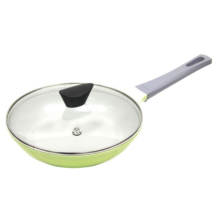 Сковорода Frybest Rainbow, 24 cм, цвет: зеленый, светлое внутреннее покрытие. CA-F24GК + Крышка в ПОДАРОКCA-F24GКСковорода Frybest изготовлена по новейшей технологии из литого алюминия с керамическим антипригарным покрытием Ecolon, в производстве которого используются природные материалы безопасные для здоровья. Благодаря специальному утолщенному дну, сковорода равномерно распределяет тепло. Непревзойденная прочность сковороды и устойчивость к царапинам позволяет использовать металлические аксессуары при приготовлении пищи, а эргономичная удлиненная ручка с силиконовым покрытием soft-touch, имеет оригинальное технологическое крепление к телу сковороды и всегда остается холодной. Прозрачная крышка, выполненная из термостойкого стекла с клапаном для выпуска пара, позволяет следить за процессом приготовления пищи.Изделие можно использовать на газовых, электрических и керамических плитах. Характеристики: Материал: алюминий, керамика, стекло, силикон.Диаметр: 24 см.Высота стенки:5 см.Длина ручки:20 см.Артикул: CA-F24GK.Производитель:Южная Корея.