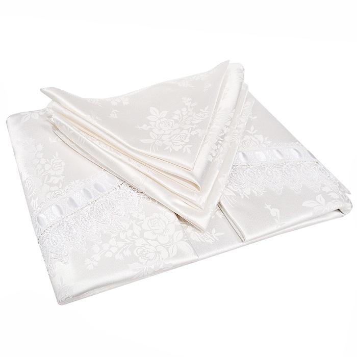 """Роскошный столовый комплект """"Soft Line"""", выполненный из ацетатного шелк-жаккарда, состоит из круглой скатерти белого цвета и 4 квадратных салфеток. Края скатерти отделаны восхитительными кружевами и атласной лентой. Комплект упакован в подарочную коробку.    Использование такого набора сделает застолье более торжественным, поднимет настроение гостей и приятно удивит их вашим изысканным вкусом. Вы можете использовать этот комплект для повседневной трапезы, превратив каждый прием пищи в волшебный праздник и веселье.   Характеристики: Материал: 100% полиэстер (ацетатный шелк-жаккард). Цвет: белый. Производитель: Китай. Артикул: 08459.   В комплект входят: Скатерть - 1 шт. Диаметр: 180 см. Салфетка - 4 шт. Размер:  40 см х 40 см.   """"Soft Line"""" предлагает широкий ассортимент высококачественного домашнего текстиля разных направлений и стилей. Это и постельное белье из тканей различных фактур и орнаментов, а также мягкие теплые пледы, красивые покрывала, воздушные банные халаты, текстиль для гостиниц и домов отдыха, практичные наматрасники, изысканные шторы, полотенца и разнообразное столовое белье.  """"Soft Line"""" - это ваш путеводитель по мягкому миру текстиля, полному удивительных достопримечательностей. Постельное белье марки """"Soft Line"""" подарит вам радость и комфорт!"""