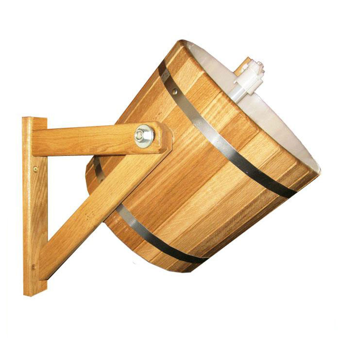 Обливное устройство Русский душ для бани и сауны, 14 л. 3320333203Обливное устройство Русский душ превосходно дополнит банную процедуру! Такое устройство позволит вам принимать контрастный душ после парной, который создаст у вас ощущение бодрости, свежести, зарядит хорошим настроением, поможет закалить организм и повысить иммунитет. Обливное устройство выполнено из деревянных шпунтованных клепок, стянутых двумя обручами из нержавеющей стали. Для изготовления клепок использовалась натуральная древесина кедра. Внутри обливного устройства имеется пластиковая вставка. В комплект также входит выпускной клапан, который поможет вам регулировать поступление воды. Соединение обливного устройства осуществляется гибким шлангом (не входит в комплект) от водопровода или другого источника воды через хвостовик впускного клапана. Специальный шнур позволяет с удобством пользоваться обливным устройством. Обливное устройство может монтироваться как к стенам, так и к потолку помещения (система крепления входит в комплект). Характеристики: Материал: дерево (кедр), пластик, нержавеющая сталь, текстиль. Диаметр обливного устройства по верхнему краю:28 см. Высота стенки обливного устройства:26 см. Толщина стенки обливного устройства:1,2 см. Объем: 14 л. Размер кронштейна (2 шт):28 см х 31 см х 9 см. Размер упаковки:36 см х 34 см х 36 см. Производитель:Россия. Артикул:33203.