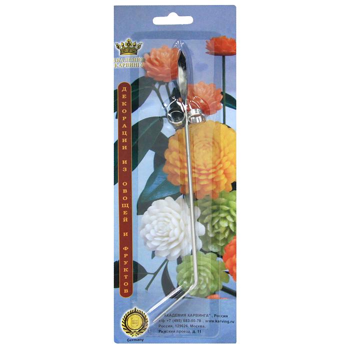 Нож винтовой Borner для карвинга 37101153710115Особое искусство художественной нарезки овощей и фруктов, называемое карвинг, имеет более творческий, чем кулинарный характер. Карвинг создает из овощей и фруктов сказочные цветы, экзотические растения и многое другое. Винтовой нож Borner используется для вырезания круглых спиралей из плотных овощей и фруктов, а так для вырезания сердцевины из таких же овощей. Винтовой нож Borner позволит вам из обычных овощей и фруктов сделать настоящие произведения искусства. Характеристики:Материал: металл. Длина: 19 см. Производитель: Германия. Артикул: 3710115.