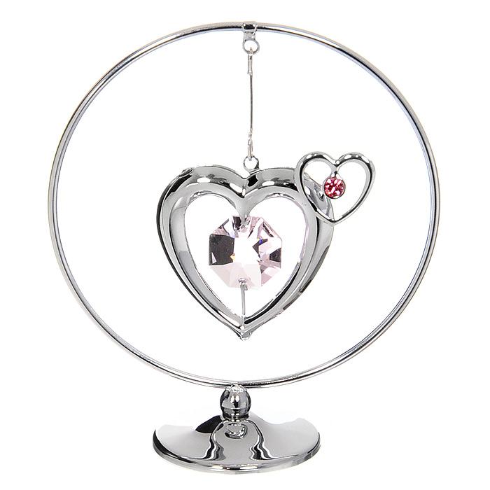 Миниатюра Два Сердца, цвет: серебристый, 8 см миниатюра снежинка цвет серебристый 8 см