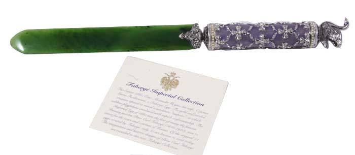 Нож для бумаг. Оникс, металл, серебрение, гильошированная эмаль, австрийские кристаллы. Франция, Фаберже, 1990-е гг.