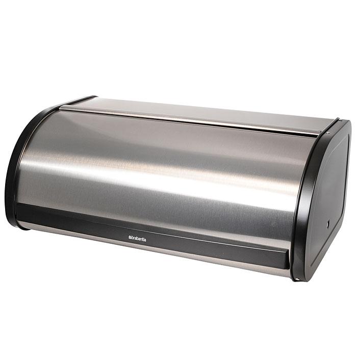Хлебница Brabantia, цвет: стальной матовый FPP. 299445299445Компактная хлебница со сдвигающейся крышкой – не требуется дополнительное пространство при открывании. Плоская верхняя поверхность обеспечивает дополнительное место для хранения. Большая вместимость – достаточно места для двух больших буханок. Рифленая внутренняя поверхность дна улучшает циркуляцию воздуха внутри хлебницы. Пластиковый ограничитель с внутренней стороны обеспечивает бесшумное закрывание. Покрытие с защитой от отпечатков пальцев (FPP).