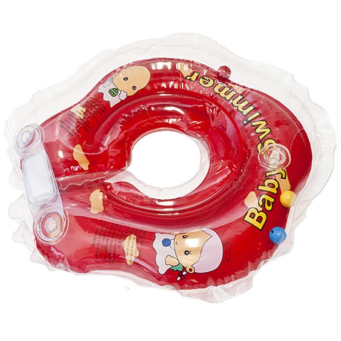 Круг на шею Baby Swimmer, с погремушкой, цвет: красный, 3-12кг roxi kids fl002 круг на шею для купания малышей