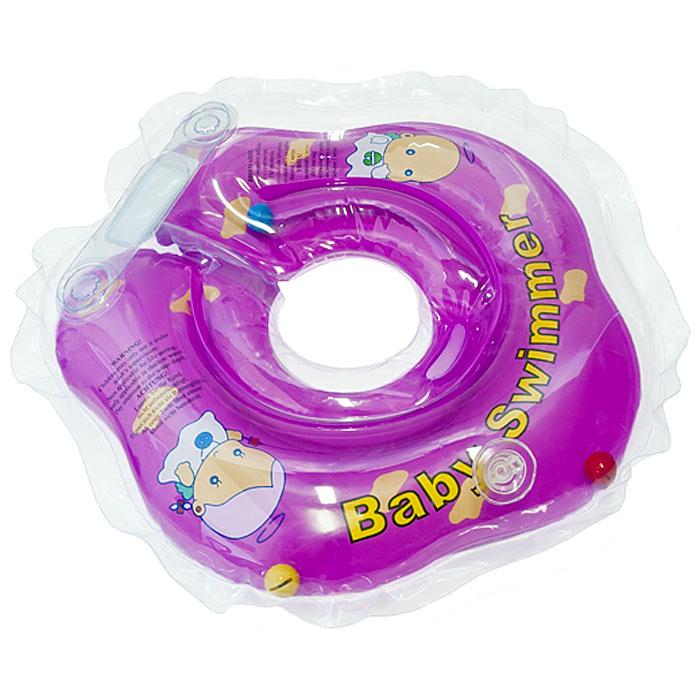Круг на шею Baby Swimmer, с погремушкой, цвет: фиолетовый, 3-12 кг roxi kids fl002 круг на шею для купания малышей