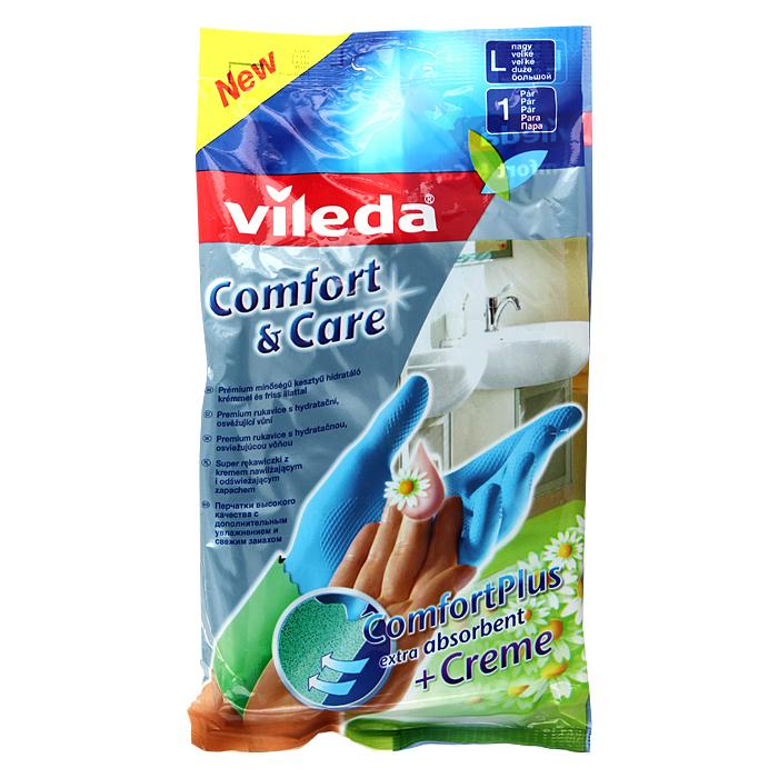 Перчатки Vileda Comfort & Care, с кремом для чувствительной кожи рук. Размер L перчатки vileda для чувствительной кожи l