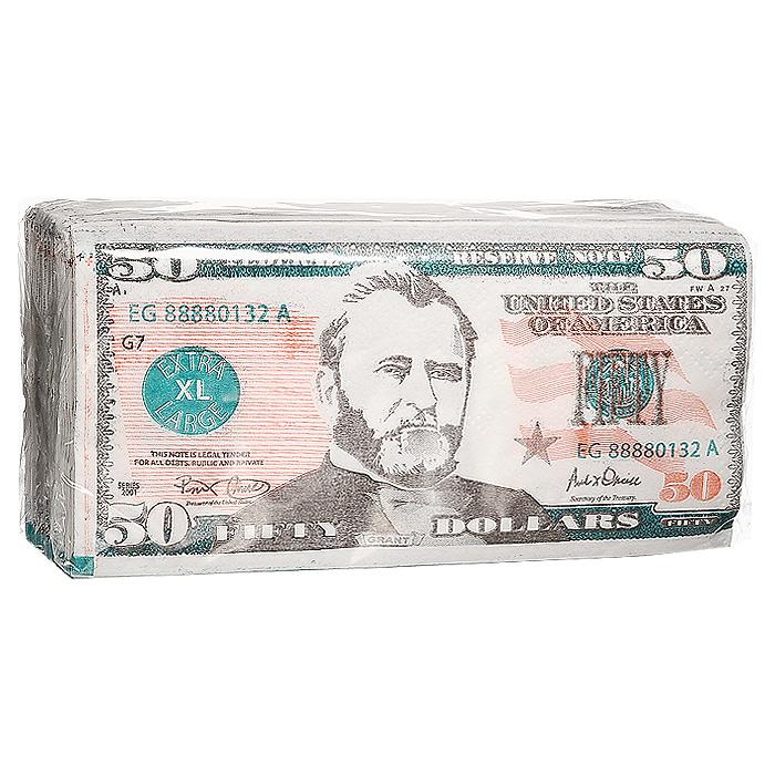 Салфетки Пачка 50 долларов92408Качественные бумажные двухслойные салфетки Пачка 50 долларов с изображением купюр в 50 долларов - оригинальный сувенир для людей, ценящих чувство юмора.Характеристики: Размер упаковки: 16,5 см x 8,5 см x 4 см. Размер салфетки: 33 см x 33 см. Материал: бумага. Производитель: Россия. Артикул: 92408.