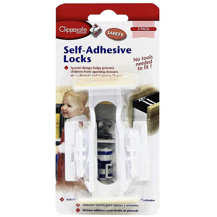 Универсальная блокировка для выдвижных Clippasafe, цвет: белый, 2 шт блокировка дверей от детей