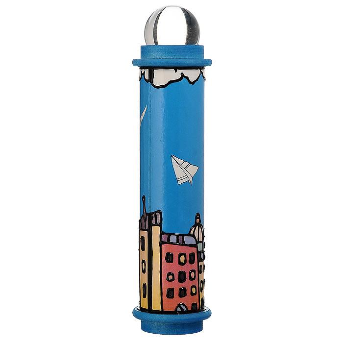 Телейдоскоп  Самолетик . Дерево, лак, фактурный рисунок, стеклянный шар, зеркало. Ручная авторская работа - Развлекательные игрушки