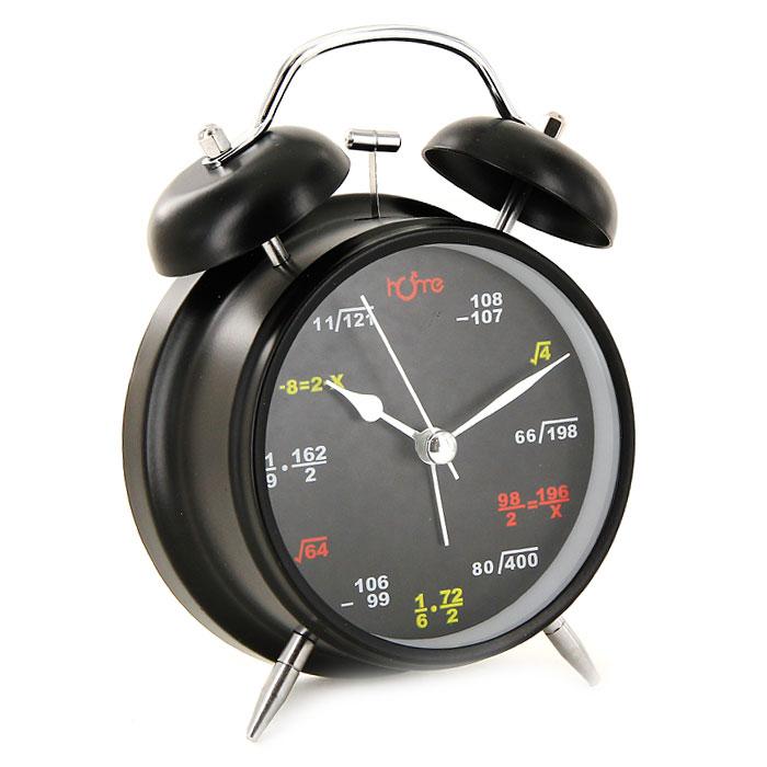 """Часы-будильник """"Формулы"""", цвет: черный, с подсветкой"""