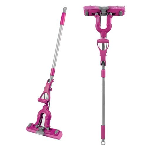 Швабра Loks Super Cleaning с насадкой PVA и дополнительной щеткой, цвет: розовый насадка сменная loks super cleaning для разборного стеклоочистителя 38 см х 7 см