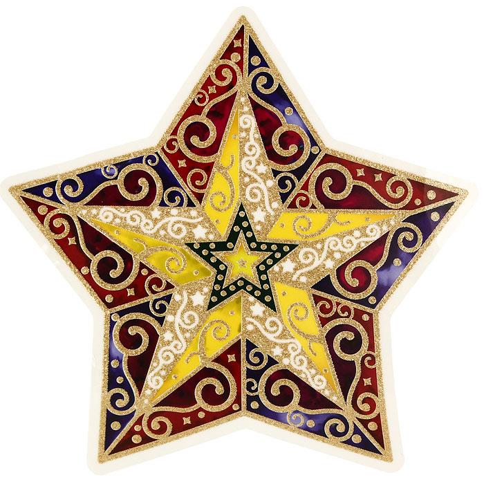Новогоднее оконное украшение Звезда. 2020820208Новогоднее оконное украшение Звезда поможет украсить дом к предстоящим праздникам. Яркое красочное изображение звезды нанесено на прозрачную клейкую пленку. Украшение декорировано золотистыми блестками. С помощью этого украшения вы сможете оживить интерьер по своему вкусу: наклеить его на окно, на зеркало или на дверь.Новогодние украшения всегда несут в себе волшебство и красоту праздника. Создайте в своем доме атмосферу тепла, веселья и радости, украшая его всей семьей.Коллекция декоративных украшений из серии Magic Time принесет в ваш дом ни с чем не сравнимое ощущение волшебства! Характеристики:Материал:пленка ПВХ. Размер украшения:29 см х 29,5 см. Изготовитель:Тайвань. Артикул:20208.