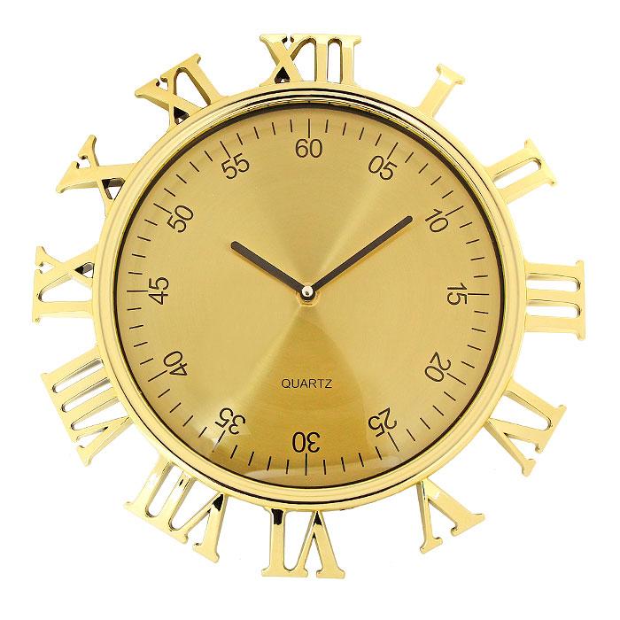 Часы настенные Римские цифры, цвет: золотистый92955Настенные кварцевые часы Римские цифры, оформленные под золото, своим изысканным дизайном подчеркнут оригинальность интерьера вашего дома.Корпус часов выполнен в круглой оправе, защищенной прозрачным пластиком, внутри которого распложены две стрелки - часовая и минутная и цифры, обозначающие минуты. Циферблат часов выполнен снаружи корпуса в виде римских цифр.Такие часы послужат отличным подарком для ценителя ярких и необычных вещей. Характеристики:Материал: пластик, металл. Цвет: золотистый. Общий диаметр часов (с учетом наружных цифр): 30 см. Диаметр циферблата с минутными цифрами: 23 см. Размер упаковки: 31 см х 33,5 см х 5 см. Изготовитель: Китай. Артикул: 92955. Необходимо докупить батарейку типа АА (не входит в комплект).