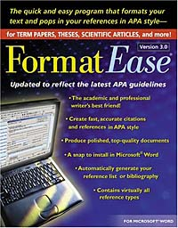 FormatEase, Version 3.0: Paper and Reference Formatting Software