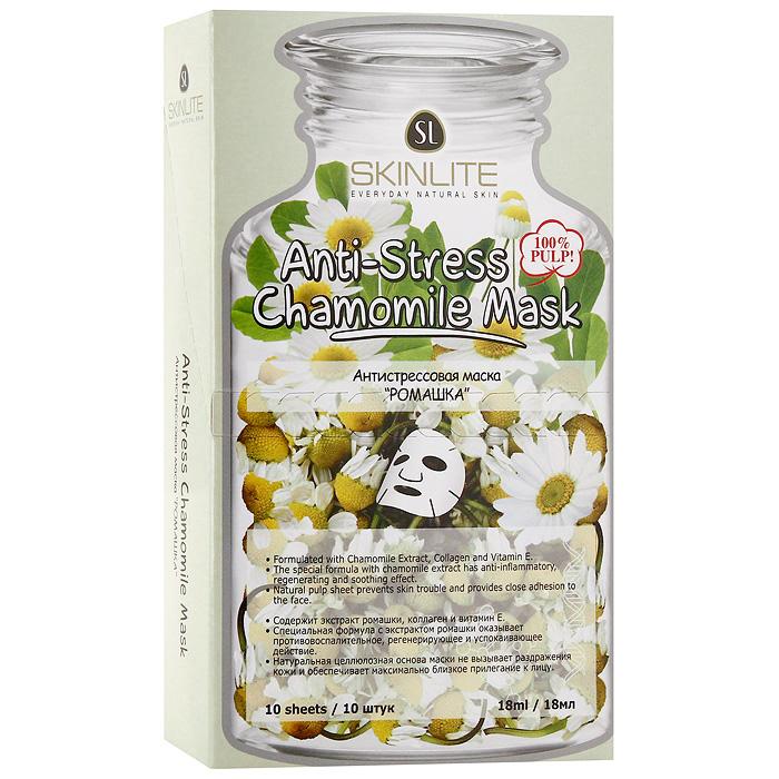 Маска Skinlite Ромашка, антистрессовая, 10 штSL-248Антистрессовая маска Skinlite Ромашка содержит специальную формулу с лечебной ромашкой, коллагеном и витамином Е, оказывает успокаивающее, увлажняющее действие. Смягчает кожу, стимулирует процесс восстановления клеток. Эффективно восстанавливает обменные процессы в коже, подтягивая и разглаживая ее. Активные вещества экстракта ромашки обладают противовоспалительным, противоаллергическим, регенерирующим, антибактериальным и заживляющим действием, снимают раздражение, повышает иммунитет кожи.При регулярном применении маски кожа выглядит ухоженной, гладкой, здоровой! Способ применения: полностью очистите лицо, аккуратно приложите маску к лицу, убедившись, что она плотно прилегает к коже. Оставьте на 15-20 минут. Снимите, медленно потянув за края. Характеристики:Количество масок: 10 шт. Объем одной маски: 18 мл. Размер упаковки: 18 см х 10,5 см х 4 см. Производитель: Южная Корея. Артикул:SL-248.Товар сертифицирован.