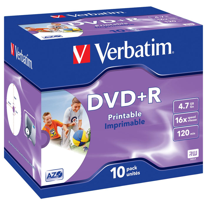 Verbatim DVD+R 4.7GB, 16x, 10шт, Jewel Case, Printable (43508) оптический диск dvd r диск verbatim 4 7gb 16x jewel case printable 10шт 43508