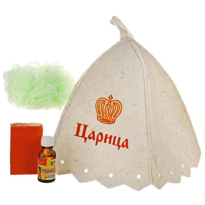 """Набор для бани и сауны """"Царица"""" состоит из необходимых аксессуаров, для того чтобы банный поход принес вам только радость.   В набор входят:  Шапка, выполненная из войлока, необходима для того, чтобы не перегреть голову, также она должна хорошо впитывать влагу. Шапка декорирована изображением царской короны и надписью """"Царица"""";  Мочалка, выполненная из нейлона - отлично пенится и оказывает эффект массажа;  Искусственная пемза - прекрасно удаляет огрубевшую, сухую кожу ступней и локтей, оставляя их мягкими и гладкими;  Эфирное масло """"Лимон"""" - тонизирует, оказывает антибактериальное, антисептическое действие, смягчает огрубевшие участки кожи, способствует заживлению трещин. Характеристики:  Материал шапки: шерсть/пэф, Материала мочалки:  ПЭ. Материал пемзы:  пенополиуретан. Максимальный обхват головы (по основанию шапки): 72 см. Высота шапки:  24 см. Диаметр мочалки: 12 см. Размер пемзы: 8 см х 2,5 см х 5 см. Объем флакона с эфирным маслом: 17 мл. Производитель: Россия. Артикул: Б32306."""