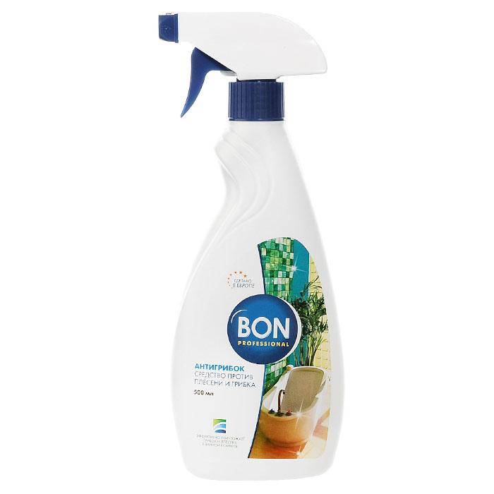 """Концентрированное жидкое средство Bon """"Антигрибок"""" предназначено для удаления плесени и грибка в ванных комнатах, душевых кабинах, санузлах и на кухне.  Средство эффективно уничтожает плесень и грибок в швах между плитками, щелях между стеной и ванной, раковиной, на кафеле и сантехнике, в сырых углах. Дезинфицирует поверхности, убивает опасные микроорганизмы, а также удаляет темные пятна, возвращает предметам блеск. Средство обеспечивает гигиеническую безопасность, свежесть и сияющую чистоту. Предотвращает появление плесени, развитие бактерий, грибов в течение долгого времени. Обладает отбеливающим эффектом. Эргономичный флакон оснащен высоконадежным курковым распылителем, позволяющим легко и экономично наносить средство на загрязненную поверхность.    Характеристики:  Объем: 500 мл. Изготовитель:  Чехия. Артикул: BN-151.  Товар сертифицирован.    Как выбрать качественную бытовую химию, безопасную для природы и людей. Статья OZON Гид"""