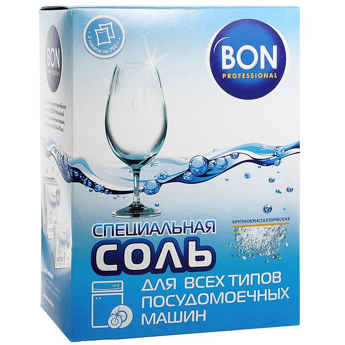 Специальная соль Bon для всех типов посудомоечных машин, 1,5 кг