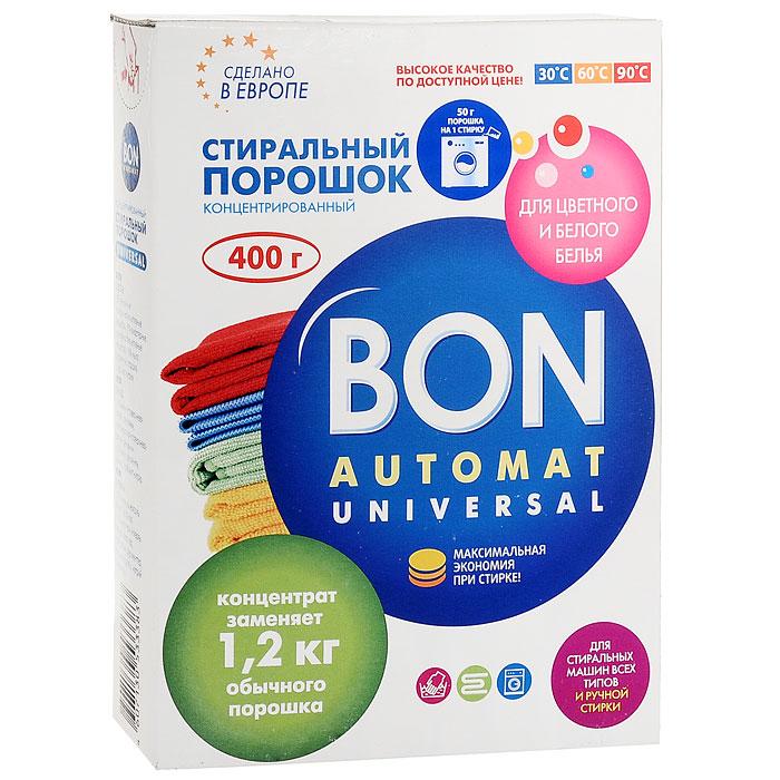 Стиральный порошок Bon Automat. Universal, концентрированный, для цветного и белого белья, 400 г стиральный порошок feed back super концентрированный 20 стирок power concentrate automat 900 гр