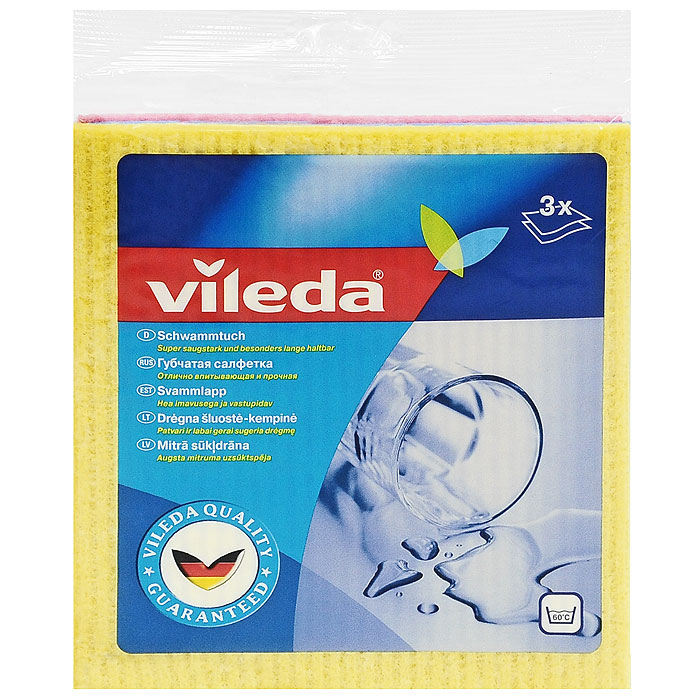 Набор салфеток Vileda, губчатых , 3 шт106980/124989Набор губчатых салфеток Vileda предназначен для уборки любых видов поверхности. Салфетки сделаны из натуральных материалов - целлюлозы и хлопка, которые гарантируют отличное впитывание. Впитывают в 10 раз больше своего веса. Можно стирать при температуре до 60°C (ручная стирка). Характеристики:Материал: 70% целлюлоза, 30% хлопок. Размер салфетки: 18 см х 20 см. Комплектация: 3 шт. Изготовитель: Швеция. Артикул: 4012581.