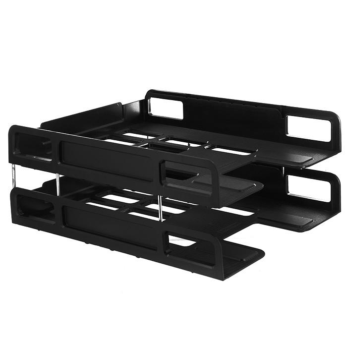 Набор горизонтальных лотков для бумаги Erich Krause  Techno , цвет: черный, 2 шт -  Лотки, подставки для бумаг