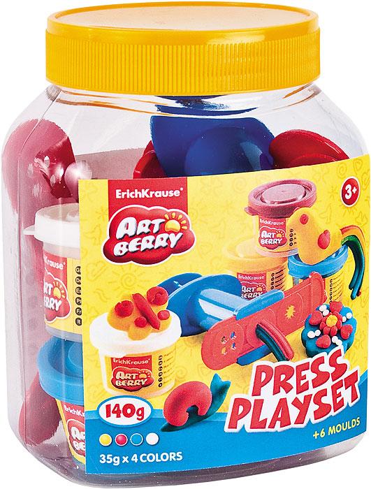 Набор для лепки (на растительной основе) Press Playset, 4 цвета30377Пластилин на растительной основе Press Playset - увлекательная игрушка, развивающая у ребенка мелкую моторику рук, воображение и творческое мышление. Пластилин легко разминается, не липнет к рукам и рабочей поверхности, не пачкает одежду. Цвета смешиваются между собой, образуя новые оттенки. Пластилин застывает на открытом воздухе через 24 часа. Набор содержит пластилин 4 цветов (малинового, голубого, желтого, белого), 4 формы-трафарета, пресс для изготовления пластилинового спагетти, стек. Пластилин каждого цвета хранится в отдельной пластиковой баночке. С пластилином на растительной основе Press Playset ваш ребенок будет часами занят игрой. Характеристики:Общий вес пластилина: 140 г. Средний размер форм-трафаретов: 10,5 см x 3 см. Длина стека: 11,5 см. Длина пресса: 7,5 см. Размер упаковки: 13,5 см x 10,5 см x 7,5 см. Изготовитель: Россия.