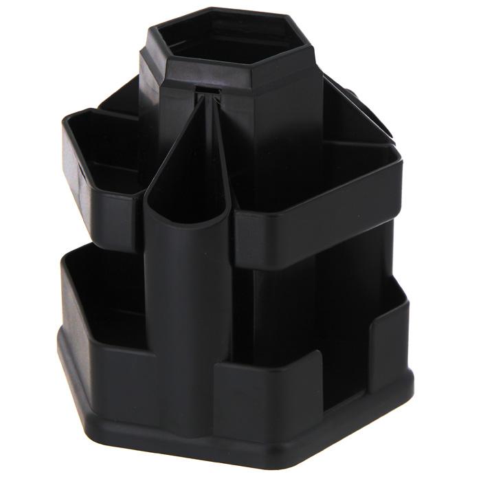 Подставка настольная Erich Krause Офисная, цвет: черный19793Настольная подставка Erich Krause Офисная для канцелярских принадлежностей - незаменимый атрибут рабочего стола. Подставка из высококачественного черного пластика имеет вращающуюся основу, благодаря которой вы с легкостью найдете нужный вам предмет. Подставка содержит 10 больших отделений для пишущих принадлежностей, линеек, ластиков, точилок, скрепок, блока для заметок, степлера.Настольная подставка для канцелярских принадлежностей Erich Krause Офисная поможет удобно организовать пространство на вашем рабочем столе. Характеристики:Размер подставки: 15 см x 15,5 см x 15,5 см. Цвет подставки: черный.Изготовитель: Россия.