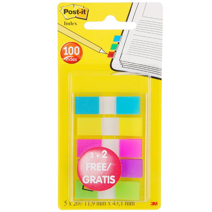 Закладки самоклеящиеся Post-it, 100 шт683-5CB PРазнообразие цвета классических узких закладок Post-itпомогут выделить и отметить нужную информацию, организовать цветовое кодирование страниц и разделов. Прозрачная клейкая часть закладки не закрывает текст, а уникальный клеевой состав позволяет многократно переклеивать закладку, не повреждая и не пачкая страниц. В комплекте закладки пяти цветов, упакованные в прозрачный диспенсер. Характеристики:Цвет:салатовый, малиновый, фиолетовый, желтый, голубой. Размер закладки: 1,19 см х 4,31 см. Размер упаковки: 14 см х 7 см. Количество: 5 х 20 шт.