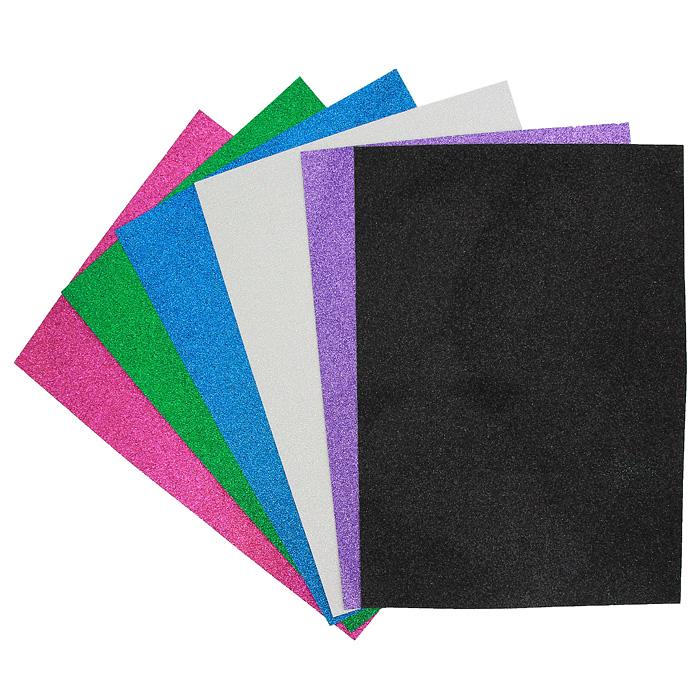 Цветная сверкающая бумага Fancy, 6 листов. FD010025FD010025Набор цветной сверкающей самоклеящейся бумаги Fancy прекрасно подходит для изготовления эксклюзивных подарков, открыток и многого другого. Детали, вырезанные из такой бумаги, эффектно смотрятся на открытках, аппликациях и других всевозможных поделках. В набор входит бумага зеленого, черного, белого, фиолетового, синего и розового цветов. Работа с набором развивает мелкую моторику, усидчивость и формирует художественный вкус.Характеристики: Формат: A4.