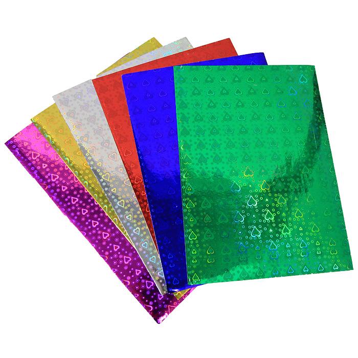 Цветная голографическая бумага Fancy, 6 цветов канцелярия fancy creative набор самоклеющейся цветной голографической бумаги a4 6 цв 6 л