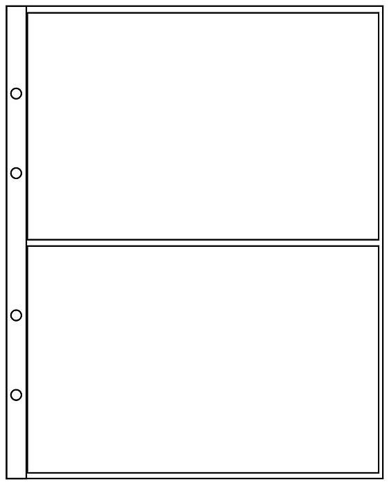 Лист для купюр или ценных бумаг на 2 ячейки (упаковка из 10 листов)