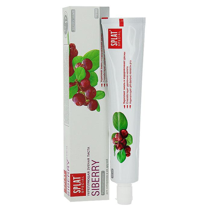Зубная паста Splat Special Siberry/Сибирские ягоды, укрепляющая, 75 млСЯ-132Эффективная зубная паста предназначена для комплексного ухода за полостью рта. Целебные экстракты ягод брусники, можжевельника, облепихи, клюквы и земляники прекрасно оздоравливают десны.Гидроксиапатит - основное строительное вещество эмали - способствует укреплению эмали и снижает повышенную чувствительность зубов. Экстракт корня ратании в сочетании с высокоэффективным антисептиком Biosol обладает заживляющими свойствами.Натуральный комплекс ферментов (лактоферрин, лактопероксидаза, оксидаза глюкозы) поддерживает местный иммунитет полости рта, обладает противомикробным, противовирусным действием и подавляет рост вредных бактерий. Глюконат цинка обладает вяжущими свойствами и надолго сохраняет свежесть дыхания.Органическая форма фтора - Olaflur - эффективно защищает от кариеса.Аромат сибирских ягод.Содержит фтор (1000 ppm). Активные компоненты:экстракт ратании, экстракты ягод брусники, можжевельника, облепихи, клюквы, земляники, Biosol, гидроксиапатит, лактоферрин, лактопероксидаза, оксидаза глюкозы, глюконат цинка, монофторфосфат натрия, Olaflur. Клинически доказано: Реминерализующий эффект - 50%. Очищающий эффект - 97,3%. Противовоспалительный эффект - 95%. Кровоостанавливающий эффект - 81%.Эффект: Частицы гидроксиапатита способствуют реминерализации эмали. Высокоэффективный антисептик Biosol обладает противовоспалительными свойствами. Экстракт ягод брусники укрепляет и сохраняет здоровье десен. Характеристики:Объем пасты: 75 мл. Размер упаковки: 19 см х 4 см х 3 см. Производитель: Россия. Товар сертифицирован.