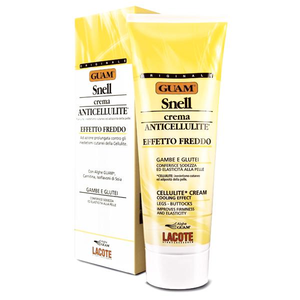 Крем антицеллюлитный Guam Snell для массажа, с охлаждающим эффектом, 250 мл0621Крем Lacote Snell устраняет целлюлит, оказывает лимфодренажное действие, моделирует контуры тела. Небольшое приятное охлаждение кожи после нанесения крема повышает тонус и эластичность кожи, придает ощущение легкости и бодрости. Маслянистая консистенция крема создает эффект скольжения, подходит для проведения профессионального массажа и самомассажа, в том числе c применением массажеров.Применение: наносить на предварительно очищенную кожу массажными движениями. Характеристики:Объем: 250 мл. Производитель: Италия.Артикул:0268.Товар сертифицирован.